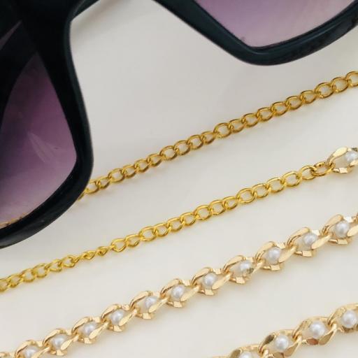 Cadena para gafas con perlitas en color oro  [3]