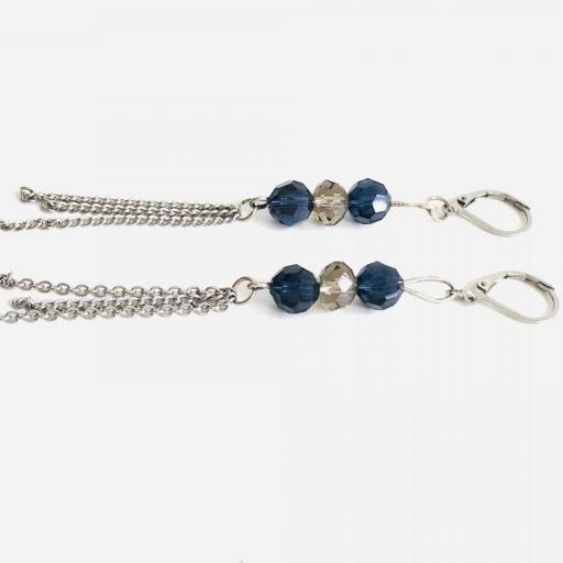 Pendientes  encadenados con cristales azules y visón  [3]