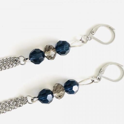 Pendientes  encadenados con cristales azules y visón  [2]
