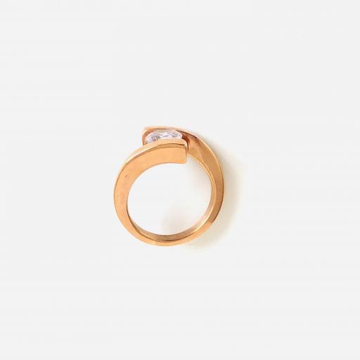 Anillo de acero rosa con cristal brillante [3]