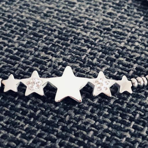 Pulsera de acero plateado con estrellas y cristales [1]