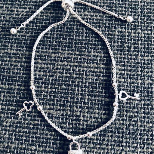 Pulsera  candado de acero y cristal strass  [0]