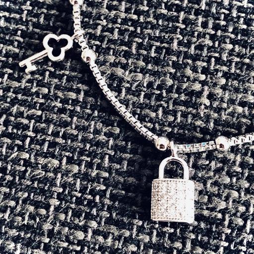 Pulsera  candado de acero y cristal strass  [1]
