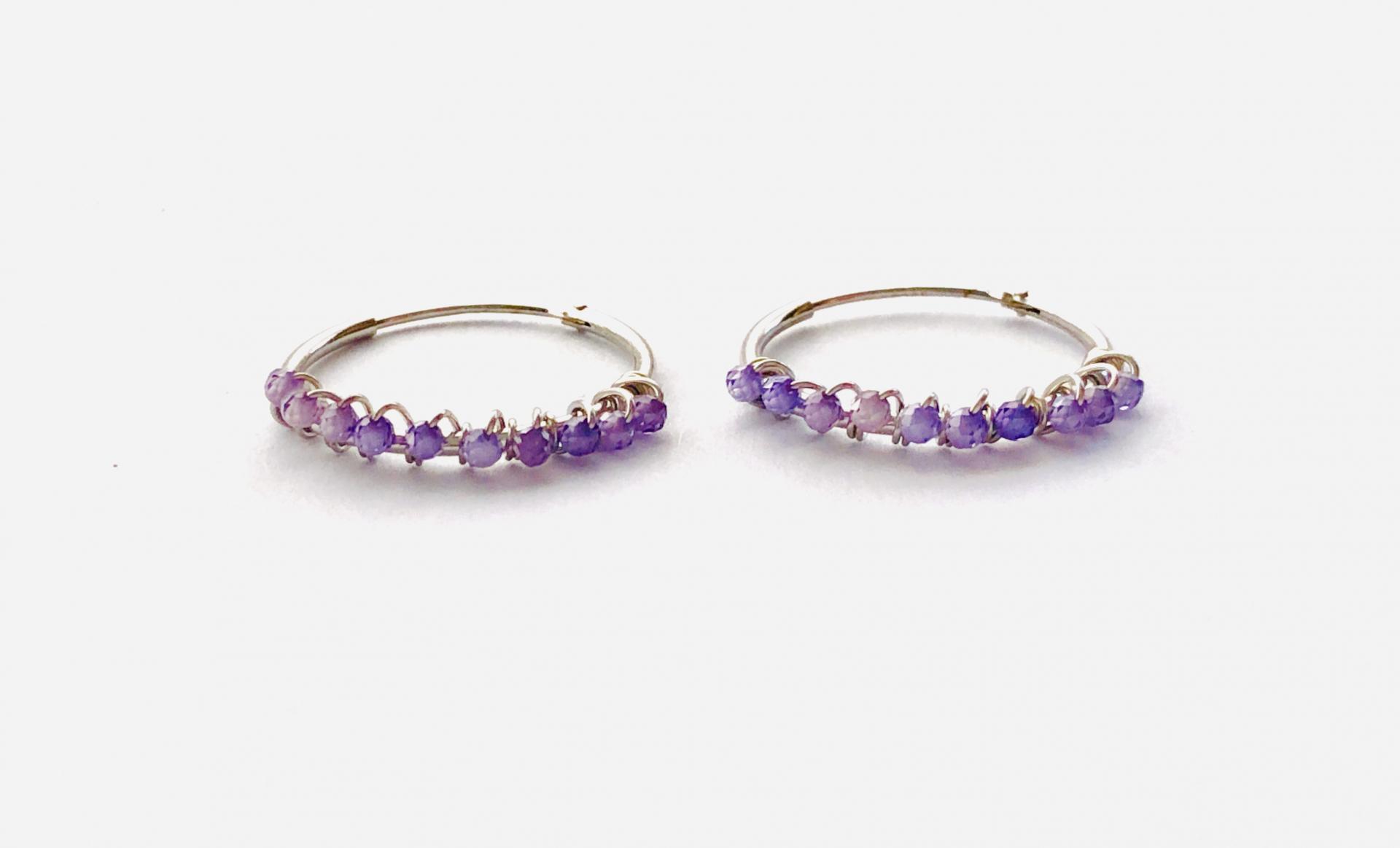 Aros de 20mm de plata con cristales violeta Swarovski