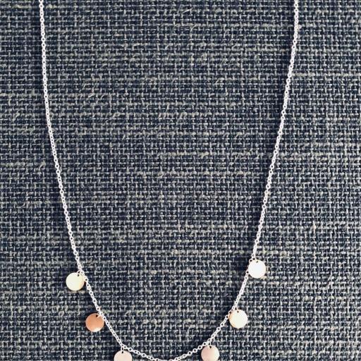 Conjunto de pendientes y collar circulares en acero plateado, rosado y dorado [3]