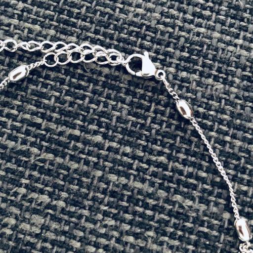Collar de acero plateado con bolas planas y cadena [2]