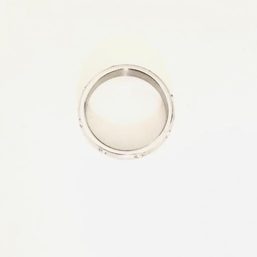 Anillo de acero plateado con cristales  [3]