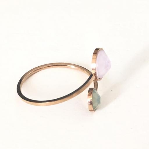 Anillo Swarovski  de acero rosa con cristal rosa y verde [2]