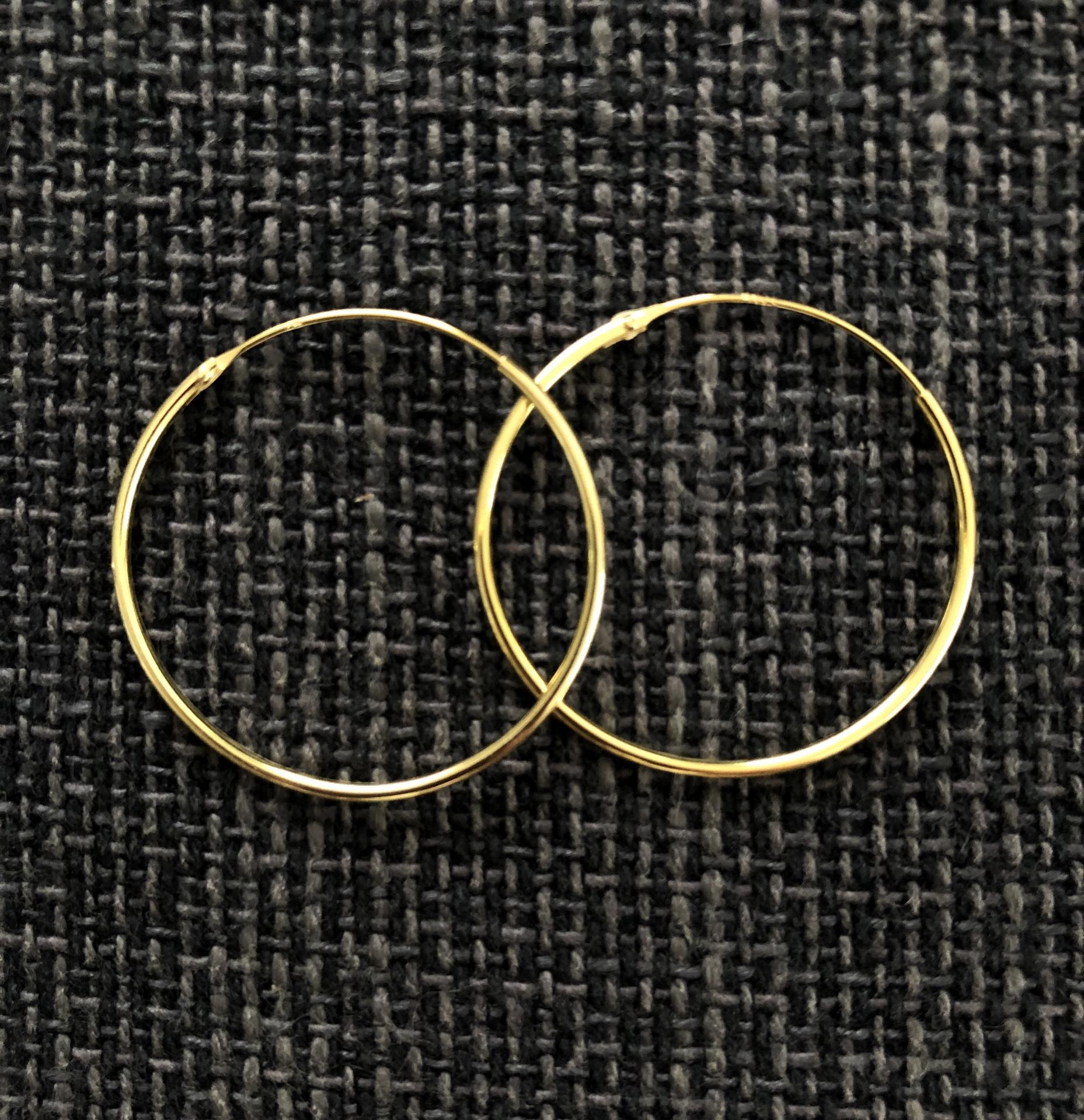 Aros de plata con baño de oro 30 mm