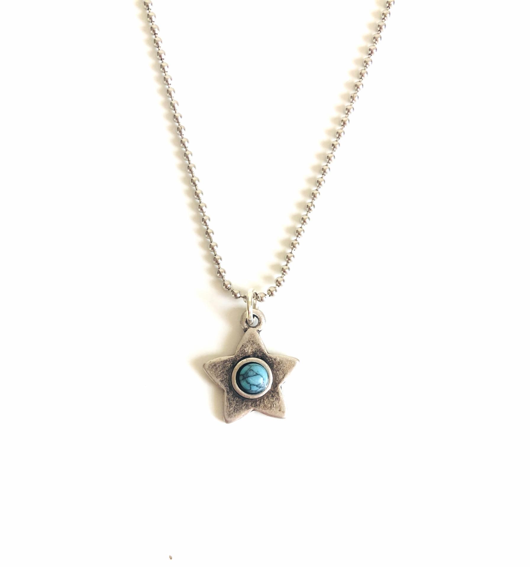 Colgante estrella color plata con turquesa