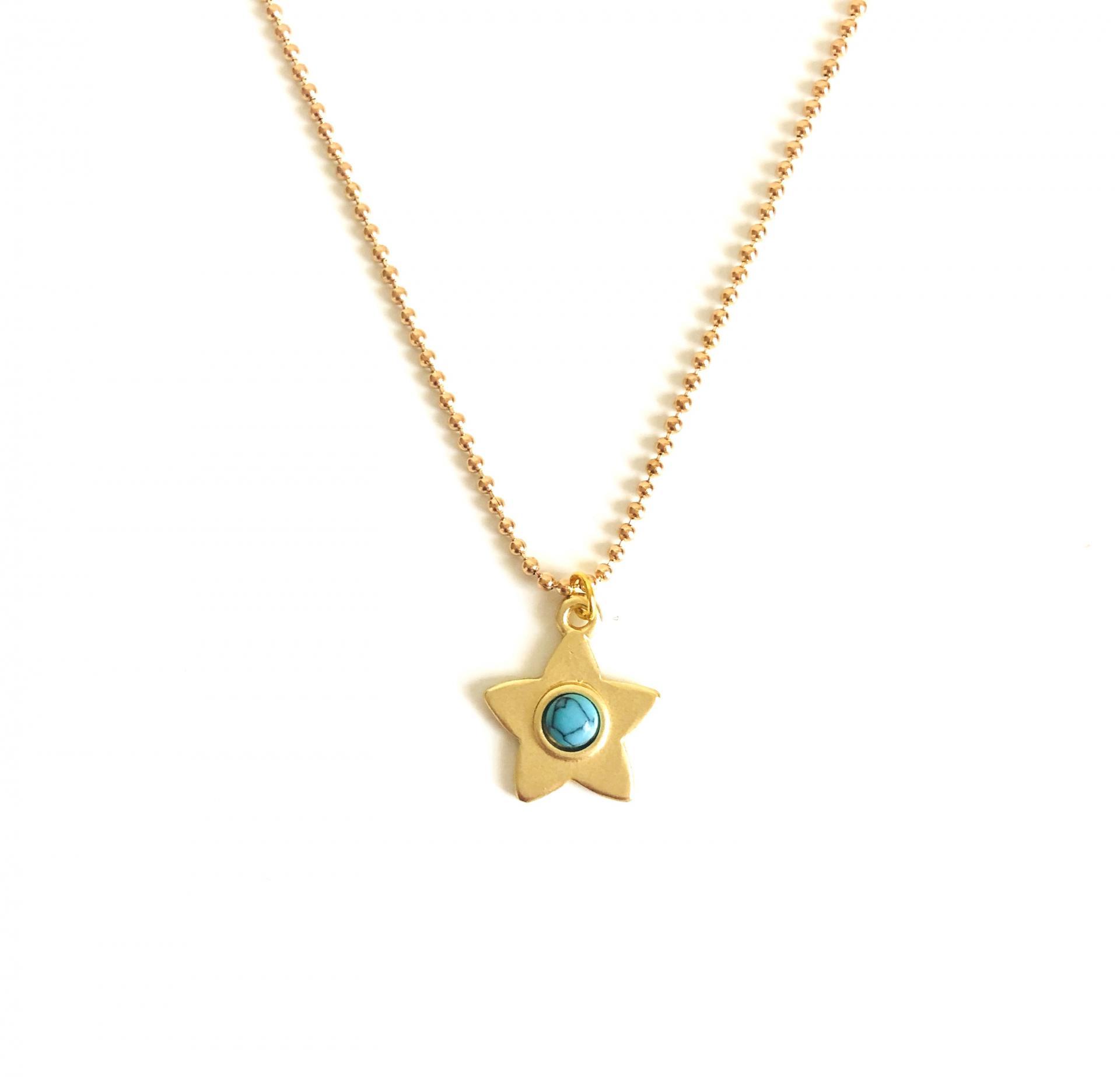 Colgante  estrella dorada con turquesa