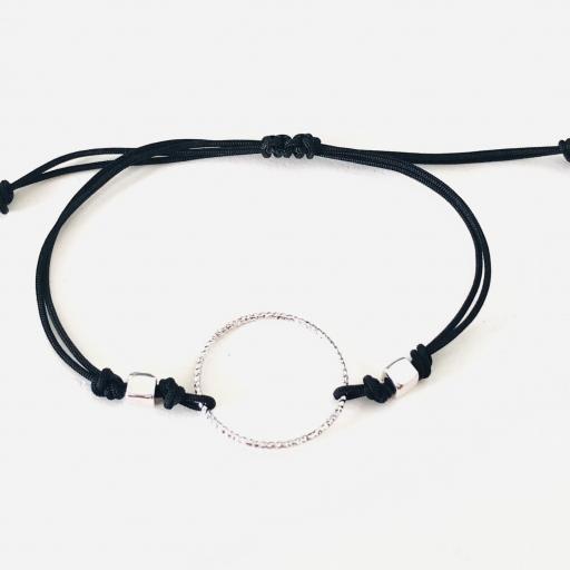 Pulsera con anilla y cordón negro [0]