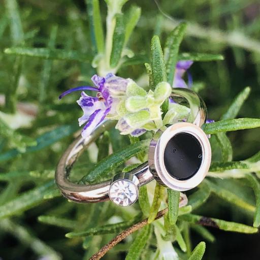 Anillo  de acero con círculo negro y cristal [2]