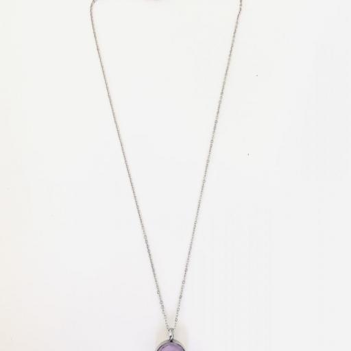 Colgante de acero con cristal rosa claro [3]