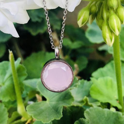Colgante de acero con cristal rosa claro [2]