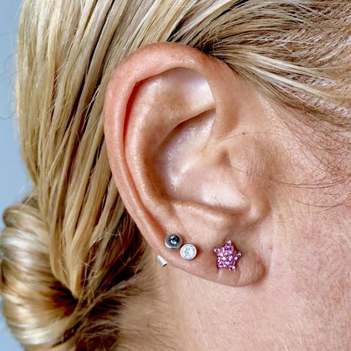 Pendientes  estrella  con cristales rosas [2]