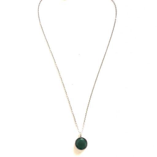 Colgante  de acero con cristal verde oscuro [3]
