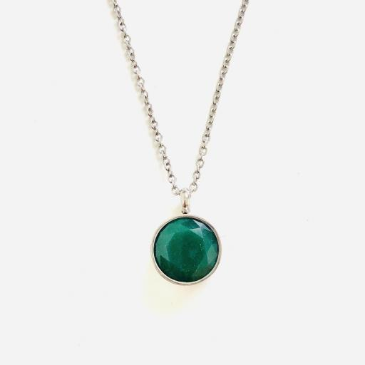 Colgante  de acero con cristal verde oscuro