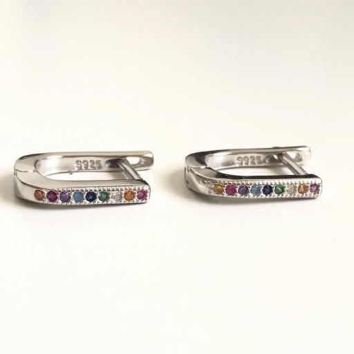 Pendientes de plata con circonitas de colores