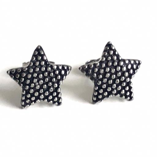 Pendientes estrella acero plateado
