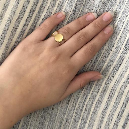 Anillo de acero dorado con calado redondo [2]