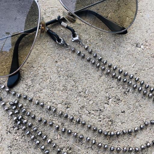 Cordón gafas de bolitas facetadas en gris plateado brillante [3]