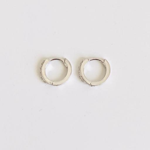 Aros criollas de plata con baño de rodio de 11 mm con circonitas [1]