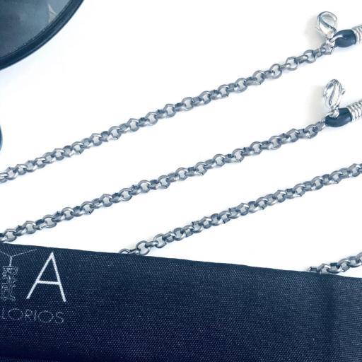 Cuelga gafas o mascarilla con cadena negra