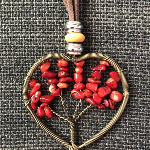 Colgante corazón con árbol de la vida color rojo [0]