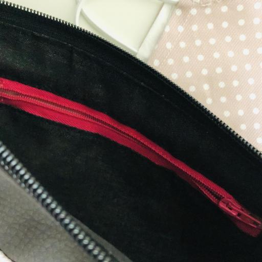 Bolso de mano o bandolera rosa con topitos blancos [2]