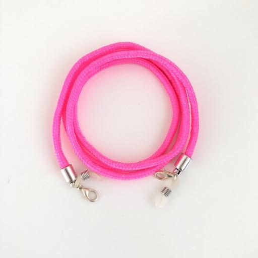 Cordón cuelga gafas o mascarilla  color rosa flúor