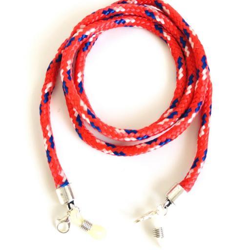 Cordón cuelga gafas o mascarilla estilo escalada rojo