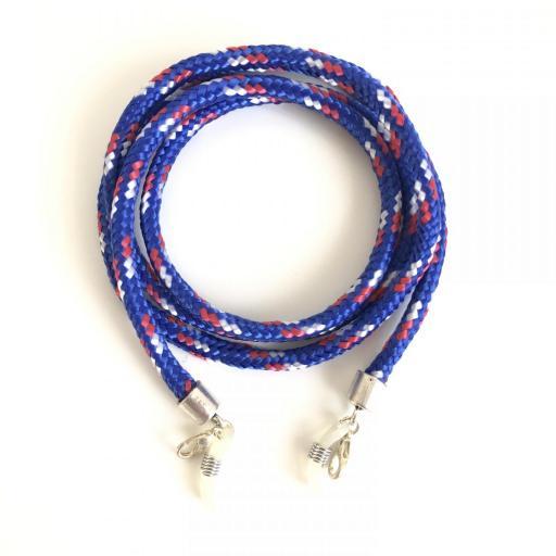 Cordón cuelga gafas o mascarilla estilo escalada azul
