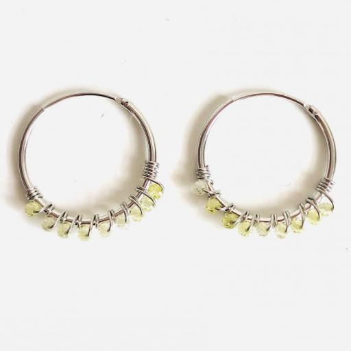 Aros de 20mm de plata con cristales verde lima Swarovski