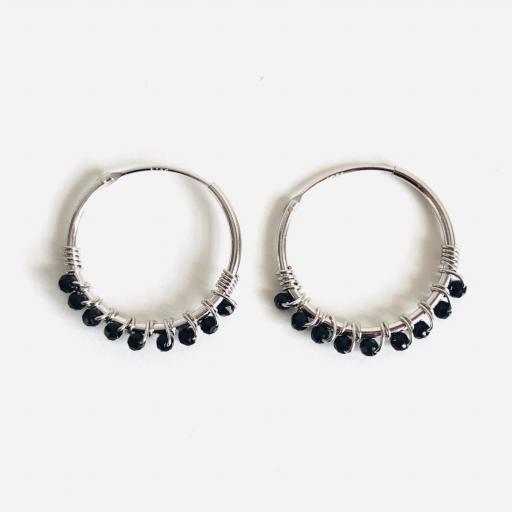 Aros  de 20mm de plata con cristales negros Swarovski