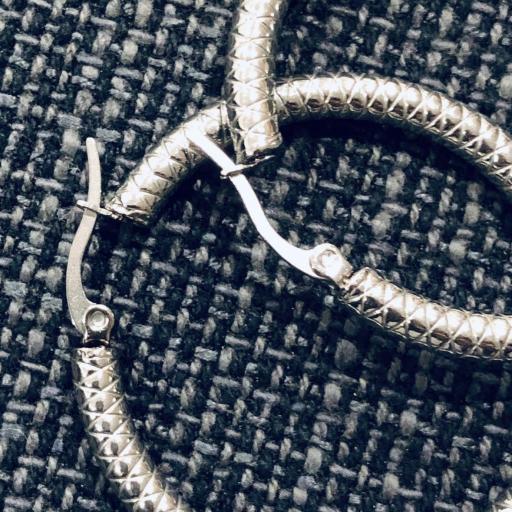 Aros de acero texturados plateados 4,5 cm [1]