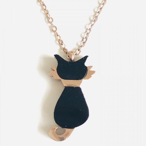 Colgante gatito esmaltado en negro y acero rosa [3]