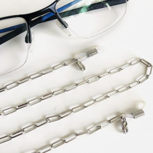 Cuelga gafas o mascarilla con cadena plateada