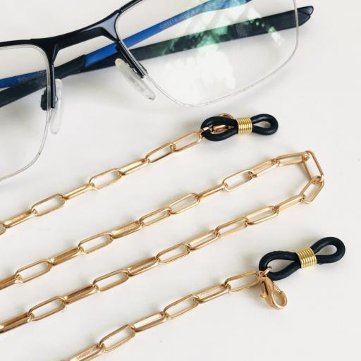 Cuelga gafas o mascarilla con cadena dorada