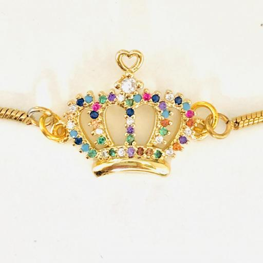Pulsera corona con cristales de acero dorado