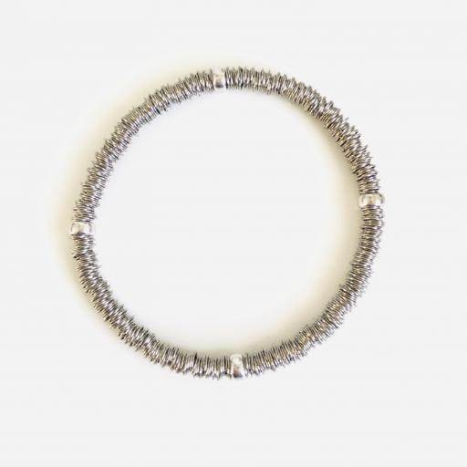 Pulsera elástica de plata rodiada con bolas de plata