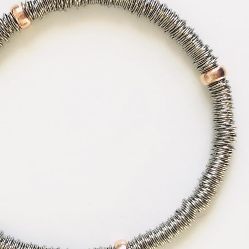 Pulsera  elástica de plata rodiada con bolas bañadas en oro rosa [1]