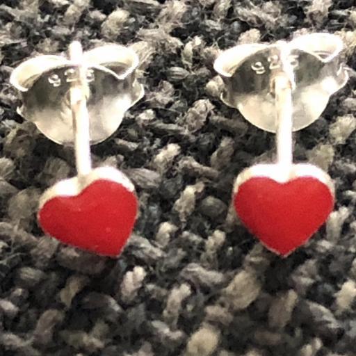 Pendientes plata con corazón esmaltado rojo [2]