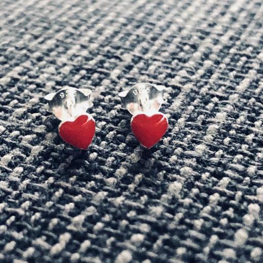 Pendientes plata con corazón esmaltado rojo