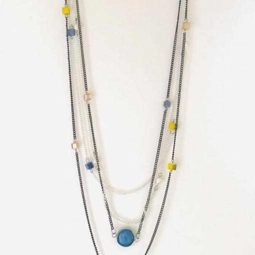 Collar fantasía cadenas azul turquesa [2]