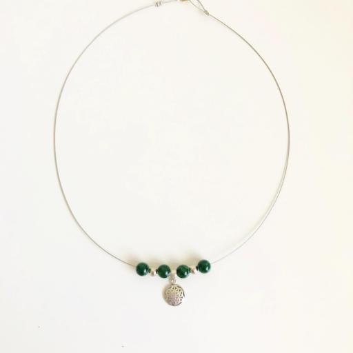 Collar flor de la vida de plata y jade verde natural [3]