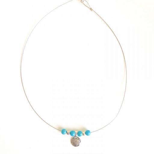 Collar de plata con flor de la vida y turquesa natural [3]