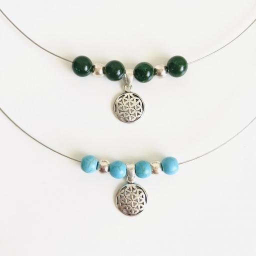 Collar flor de la vida de plata y jade verde natural [2]