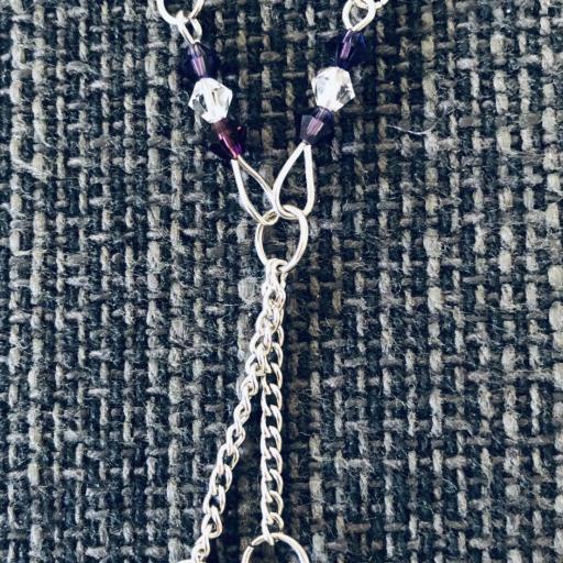 Conjunto de pendientes y collar con cristales Swarovski morados y cobrizos [2]