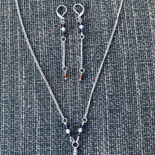 Conjunto de pendientes y collar con cristales Swarovski morados y cobrizos [0]